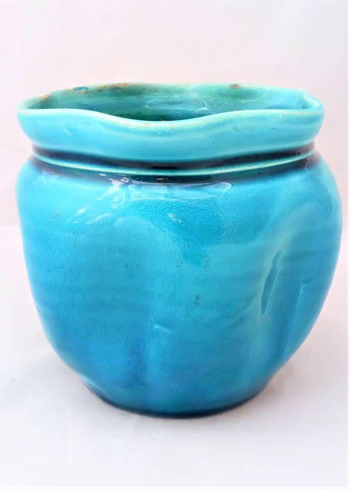 ntique Arts and Crafts Turquoise Small Planter Linthorpe or Burmantofts circa 1900