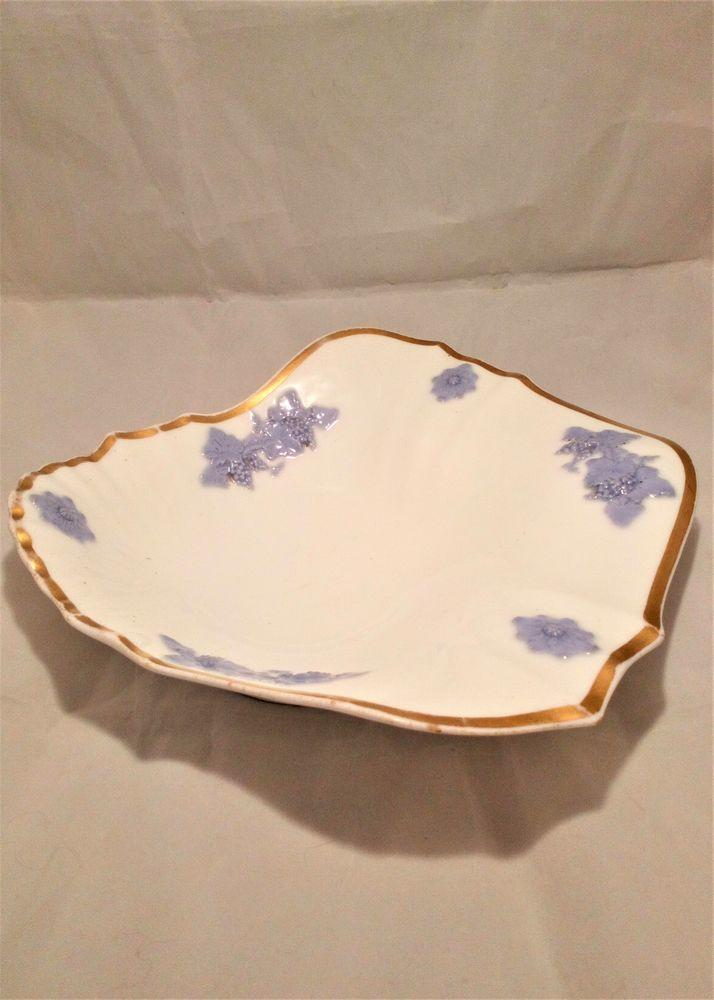 Antique Porcelain Shell Shaped Dessert Dish Lilac Sprigged William IV Antique c 1835