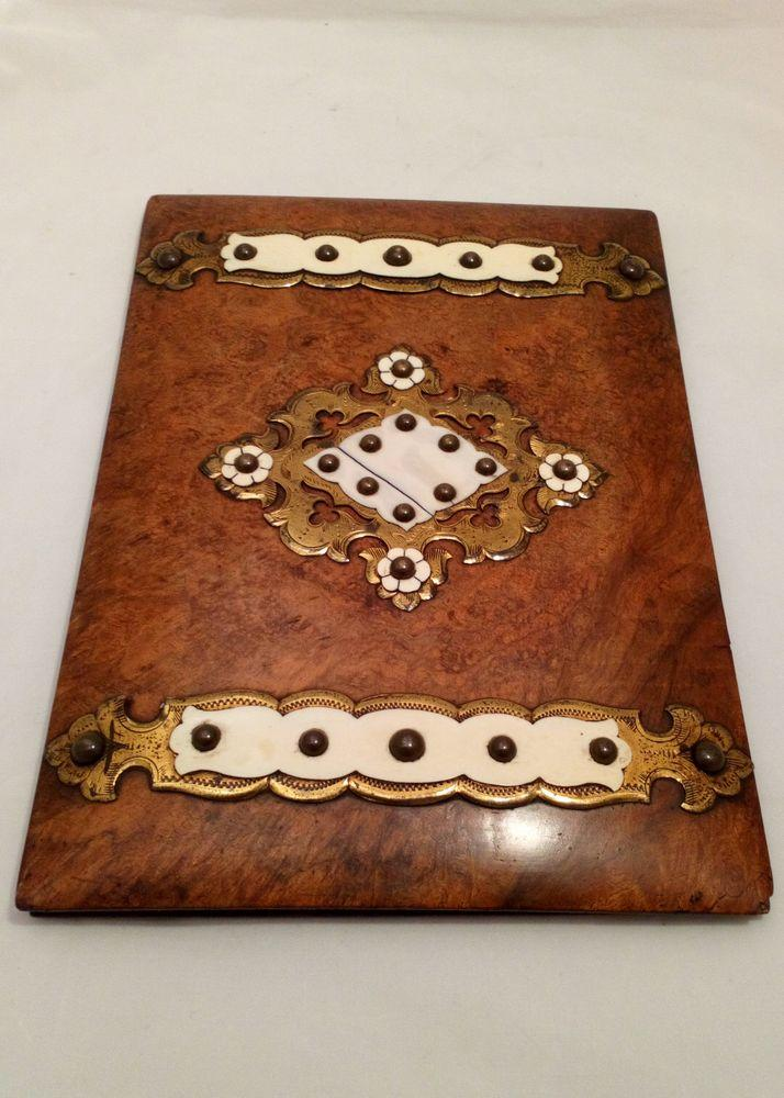 urr Walnut and Brass Mounted Stationery Box and Matching Blotter Antique Mid 19th C