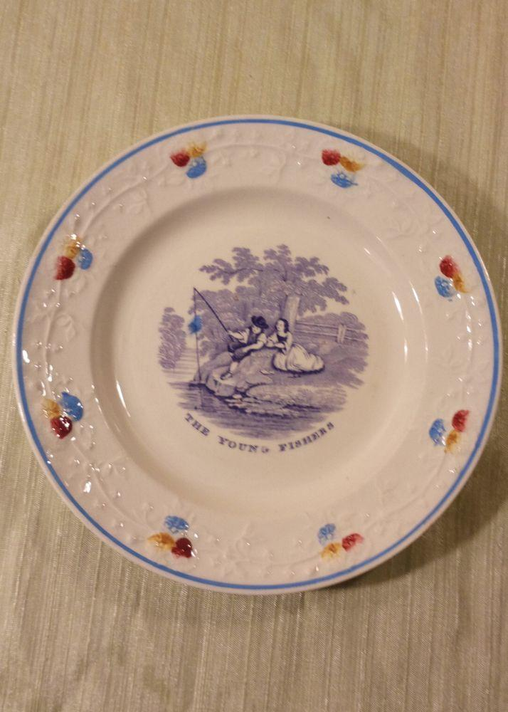 The Young Fishers Transfer ware Plate  Paual and Virginia Series by William Smith and Co Stafford Pottery Stockton on Tees Antique c 1835