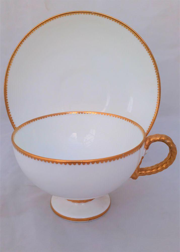 Brown Westhead and Moore Rope Handled Porcelain Tea Cup & Saucer Antique c 1869