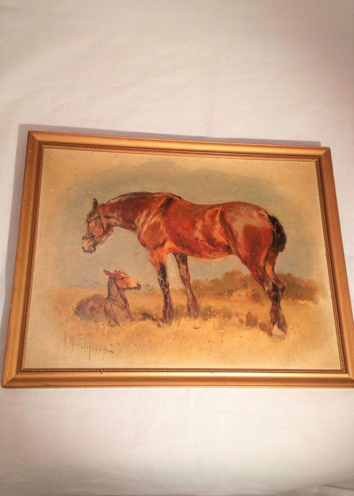 Antique Signed William Woodhouse Oil Painting of Horse and Foal circa 1910 - 1920