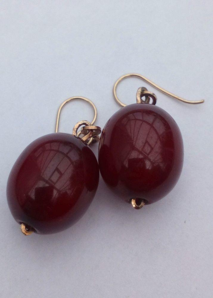Antique Art Deco Cherry Amber Dropper Earrings Simichrome Tested circa 1920s