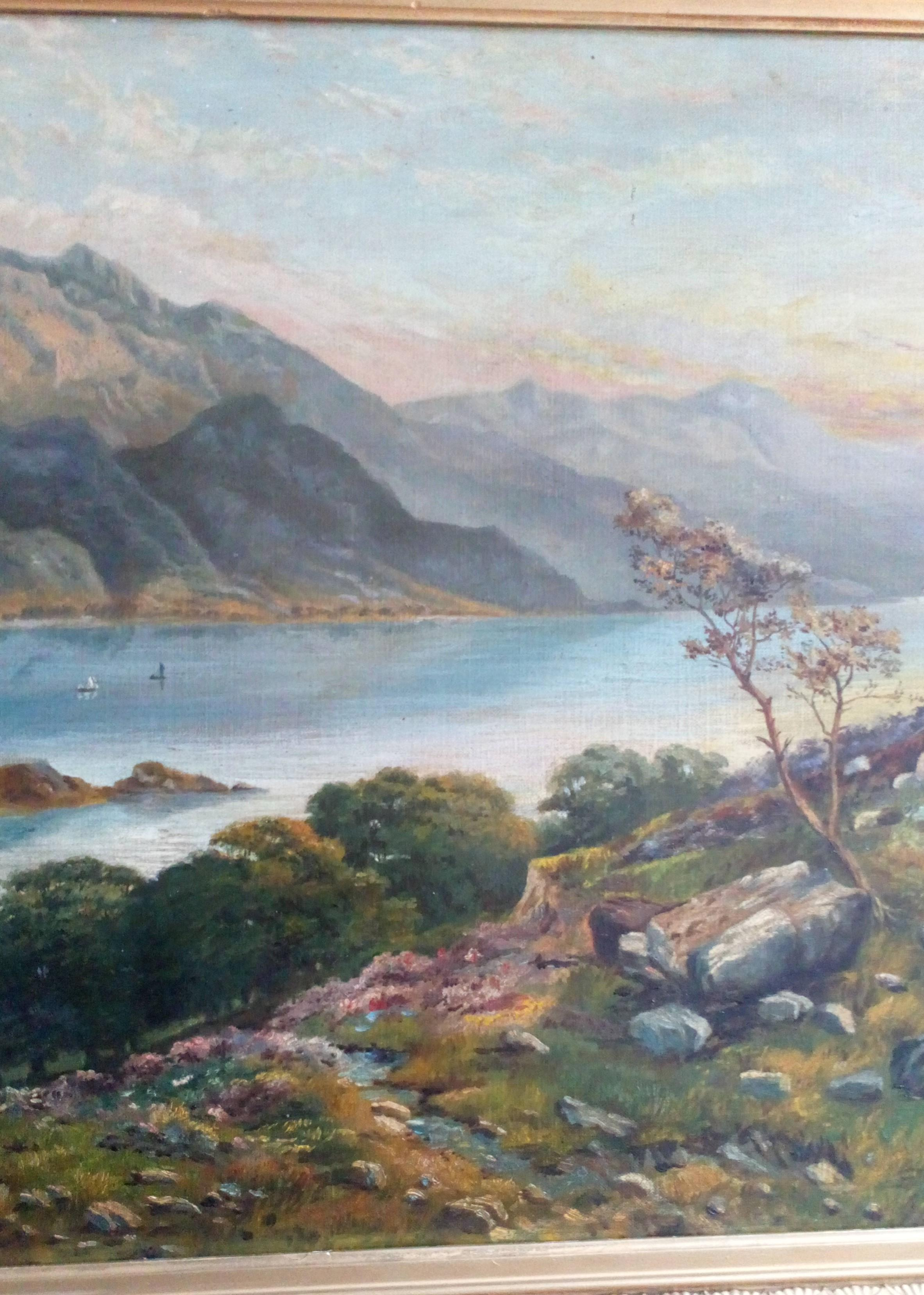 Antique Victorian Oil Painting of European Lake and Mountain Landscape Scene Monogram GKM Dated 1873 Possibly Lake Walen Switzerland