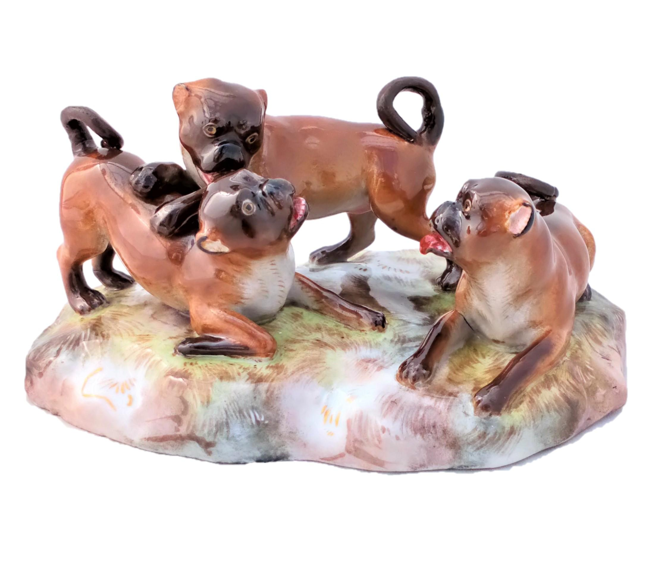 Antique Meissen Porcelain Pug Dogs Figure Group F186 c 1880