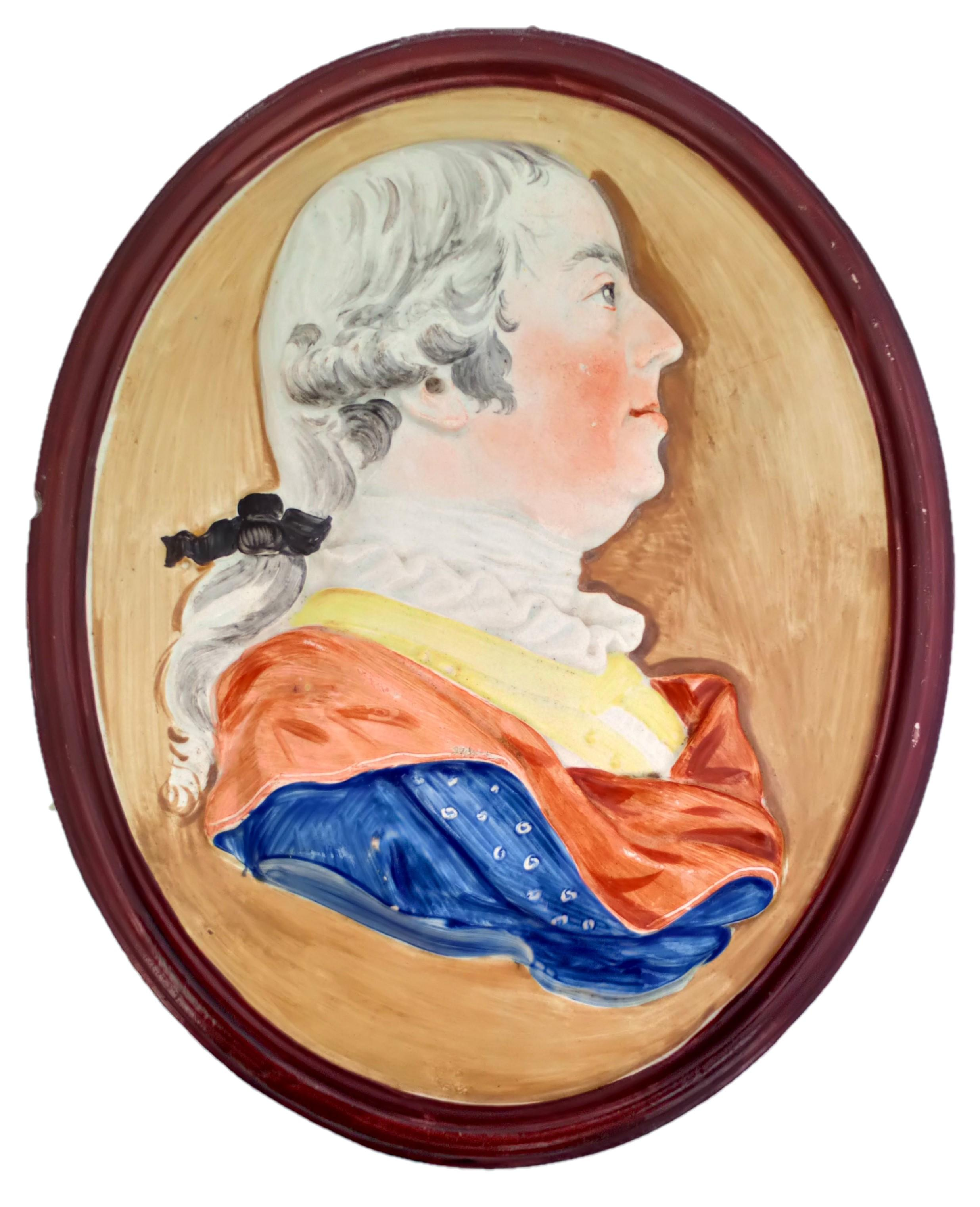 Georgian Pearlware Portrait Plaque General Monckton Enamelled Antique c 1785