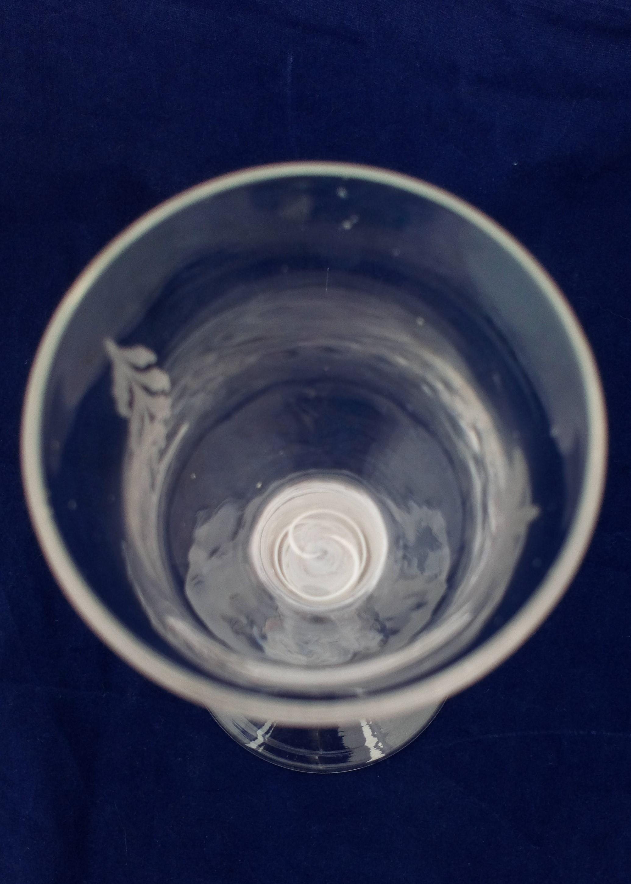 Georgian Wine Glass Single Series Opaque Twist Stem Chinoiserie Engraved Bowl Antique circa 1760