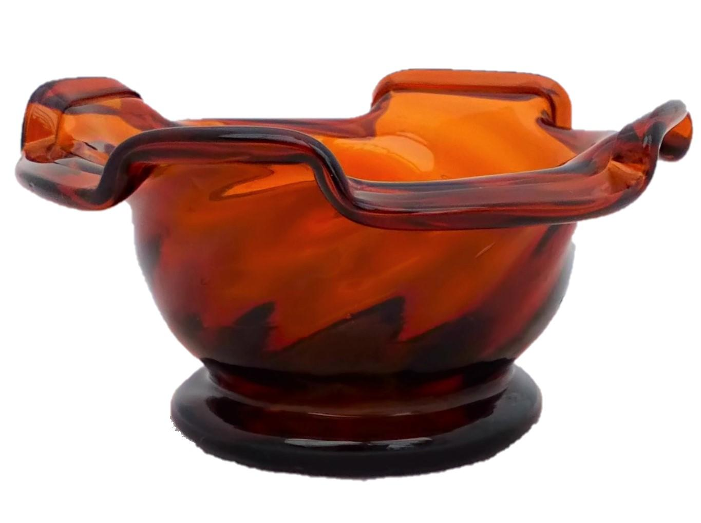 Antique Victorian amber glass wrythen sweetmeat bowl or pan with a pinched and folded rim circa 1850