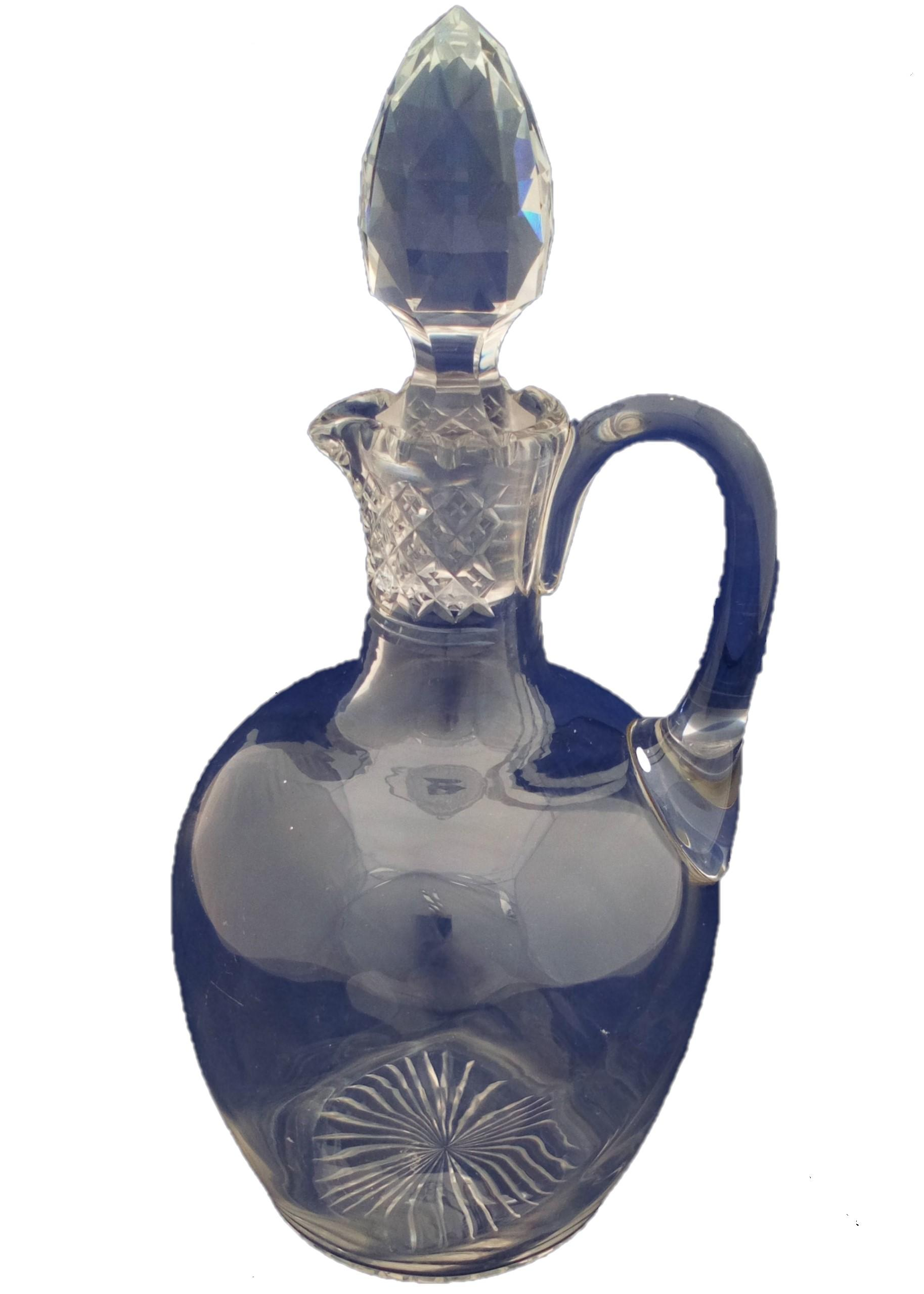 Victorian Wrythen Cut Glass Claret Jug Handled Decanter Cut Neck Stopper circa 1880