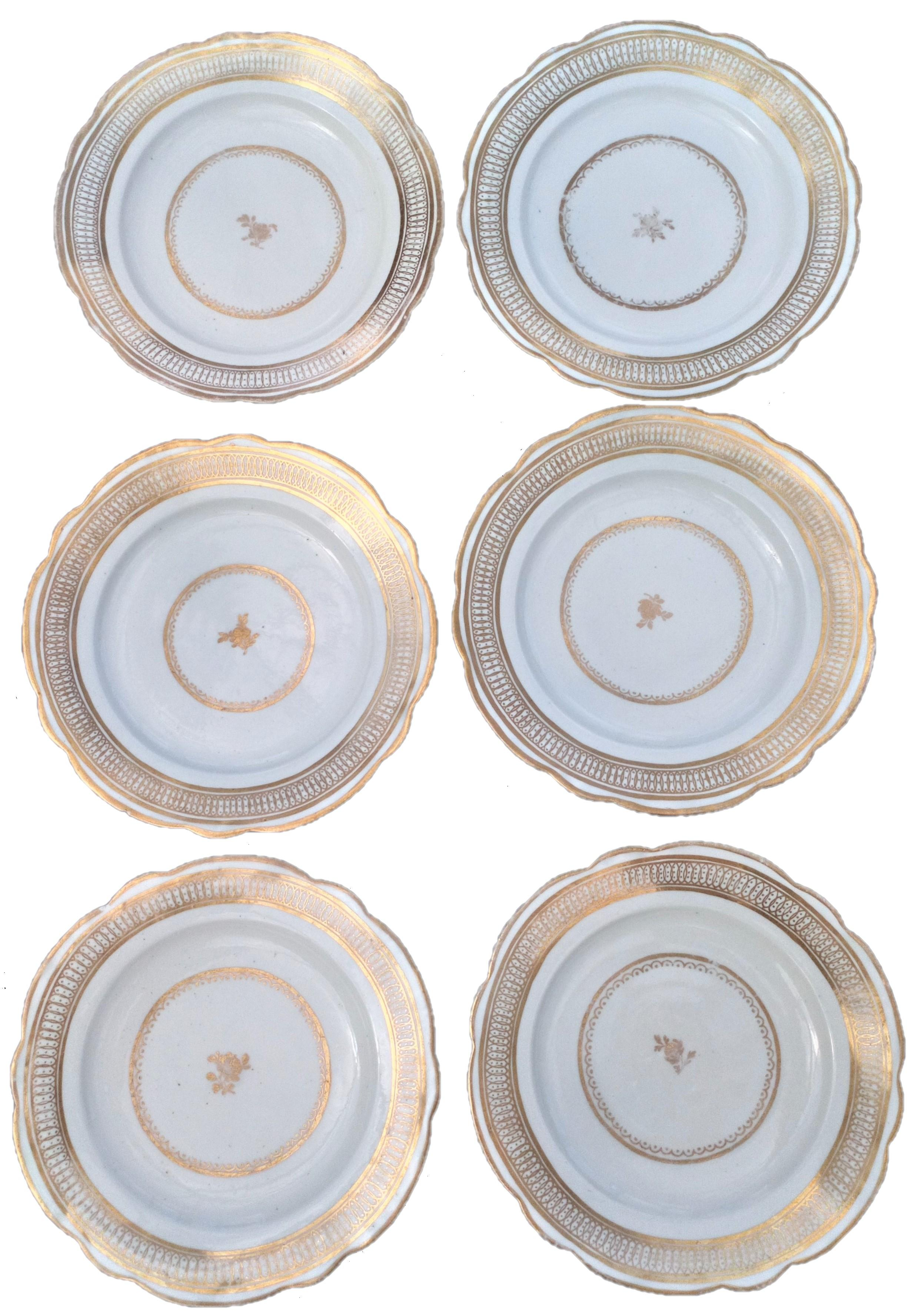 Set Six John Rose Coalport Porcelain Dessert Plates Gilt Ellipse & Dot c 1798