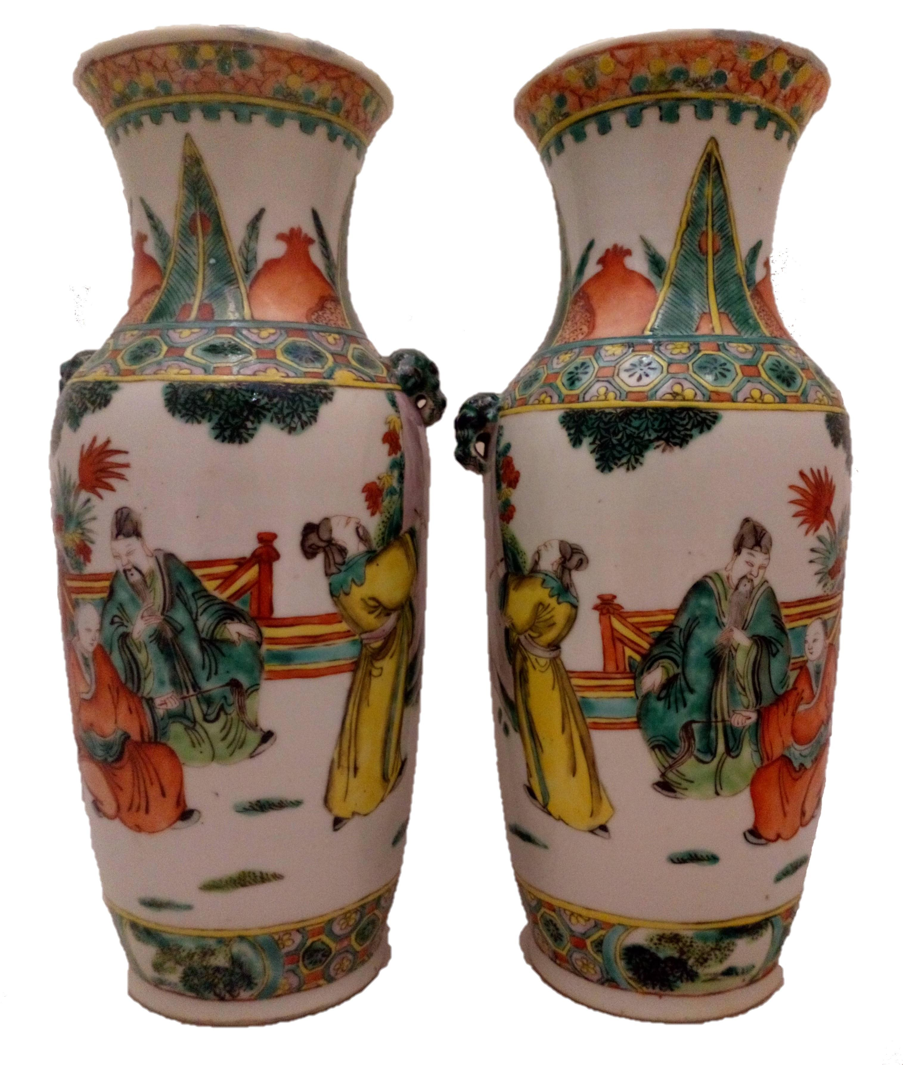 An antique pair of Chinese porcelain vases hand painted in the Famille Verte palette with Scholars and Emperor from the late Qing Dynasty 清代