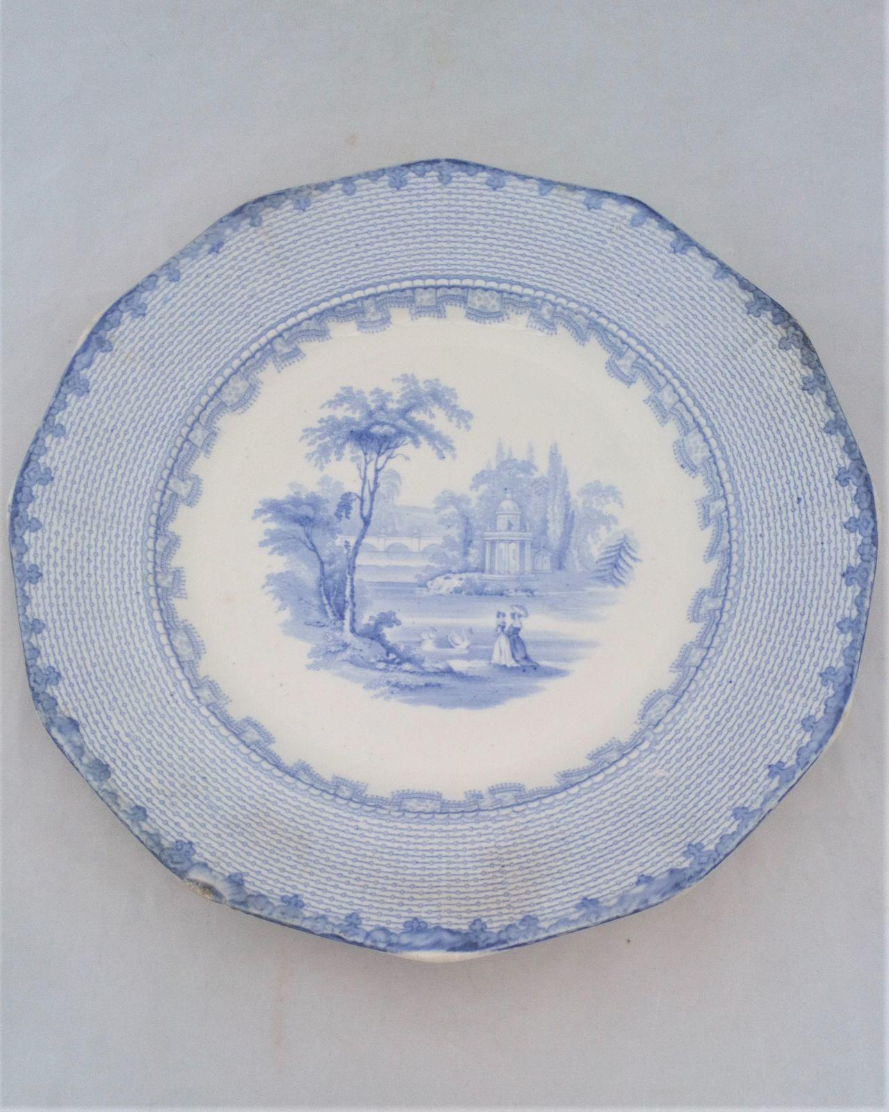 Victorian Blue and White Dinner Plate Romantic Pattern No 15 Geometric border c 1850
