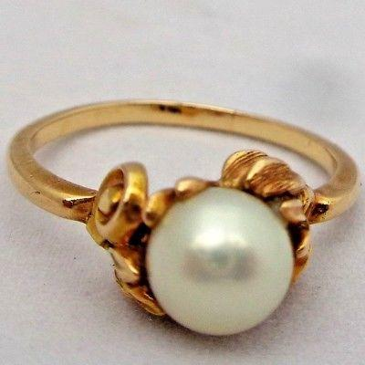 Arts & Crafts 14k Gold & Pearl Solitaire Ring Theodore Pond USA Antique c 1910