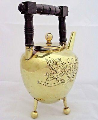 Arts & Crafts Brass Teapot Christopher Dresser Style City London Arms Antique