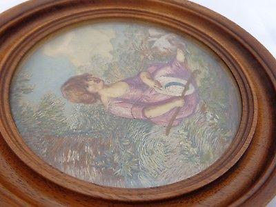 Pair Antique Silkwork Pictures Framed Girl & Boy Shepherds Agnes Sephton c 1910