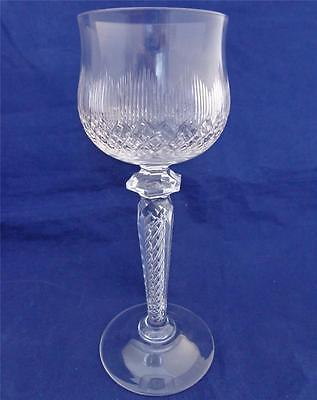 Vintage St Louis Crystal Cut Glass Round Bowl Wine Glass Faceted Air Twist Stem