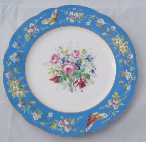 Antique French Porcelain Cabinet Plate Painted Floral Butterfly Sevres type 1880