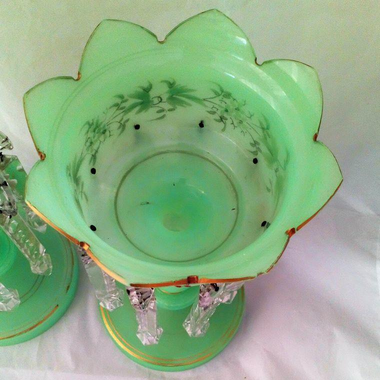 Pair of Green Opaque Uranium Glass Mantle Lustre Vases Antique Victorian