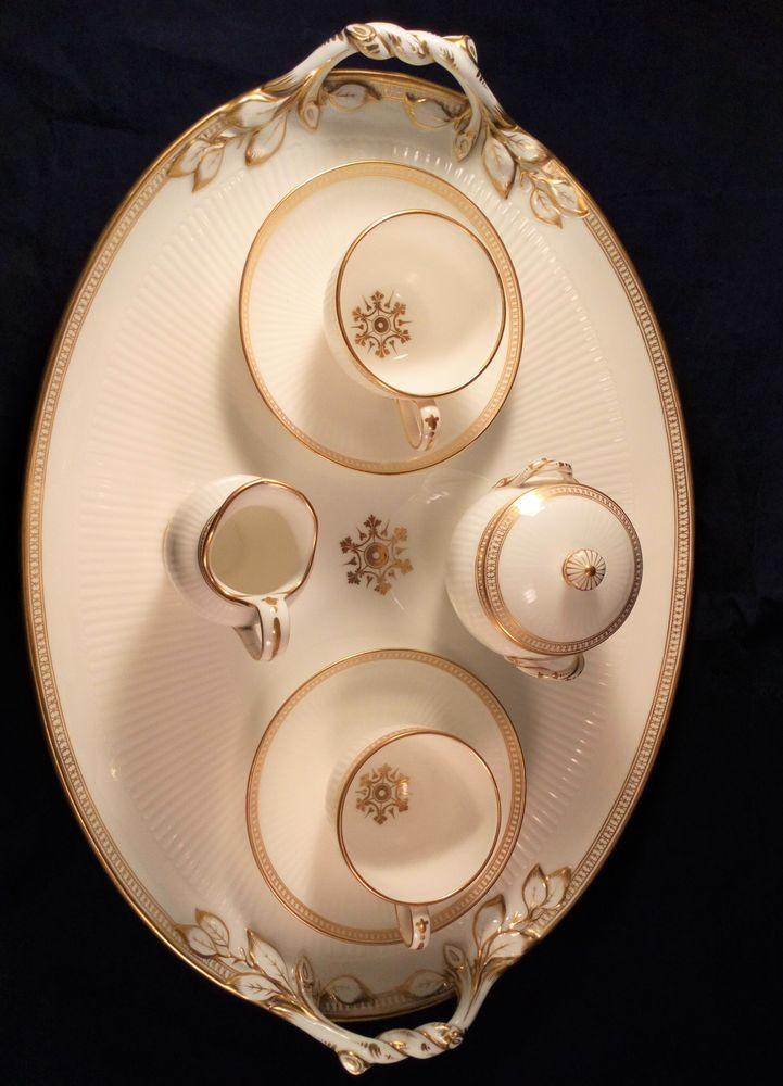Minton White and Gilt Bone China Paris Flute Cabaret Set Pattn 3419 1850