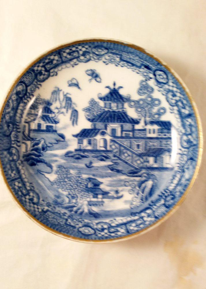 New Hall Porcelain Two Moths Willow Pattern Tea Bowl & Saucer ca 1795