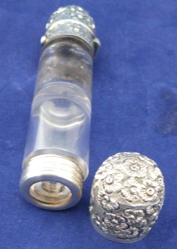 Victorian Double Ended Scent Salts Bottle Clear Glass Embossed White Metal Caps