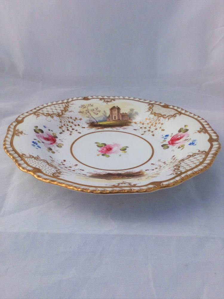 H and R Daniel Porcelain Gadrooned Plate Hand Painted 4347 pattern c 1827