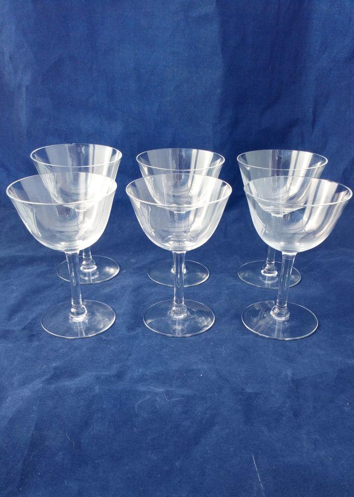 Art Deco Wine Liqueur or Cocktail Glasses Set of Six Cut and Etched PB c 1920