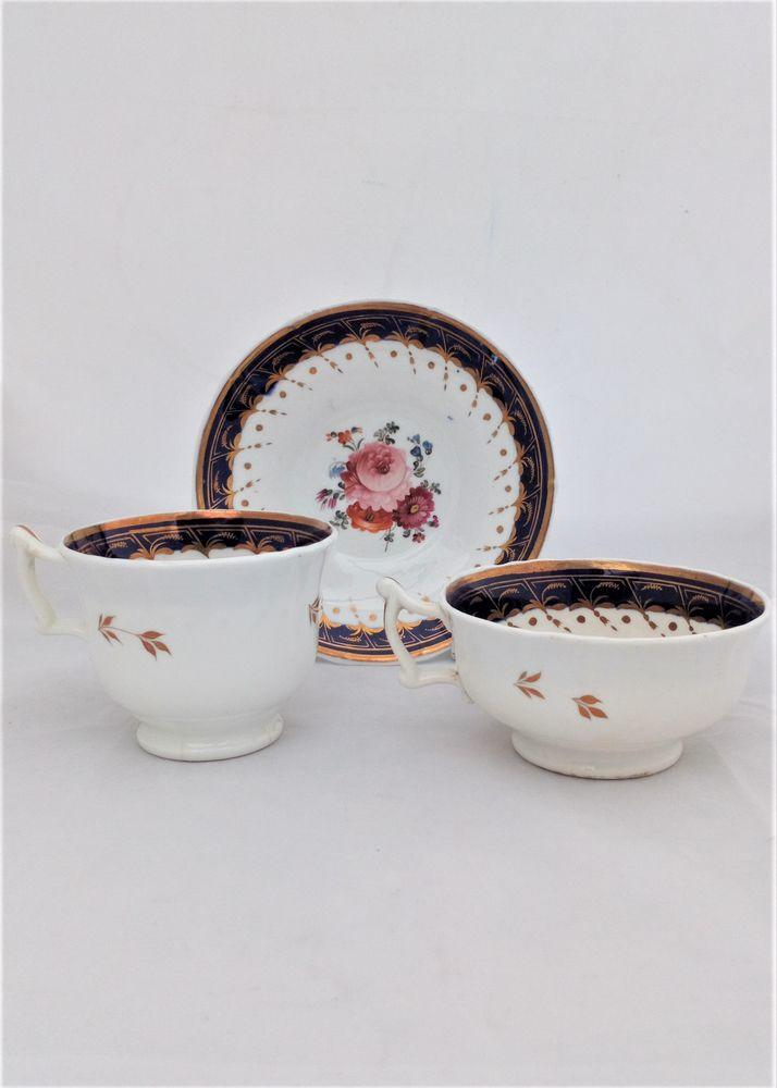 Samuel Alcock Porcelain Trio Painted Flowers Cups & Saucer Antique 1835 5