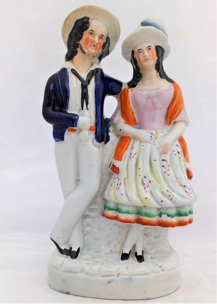 Staffordshire Flatback Sailor and His Girl Figurine Victorian c 1850