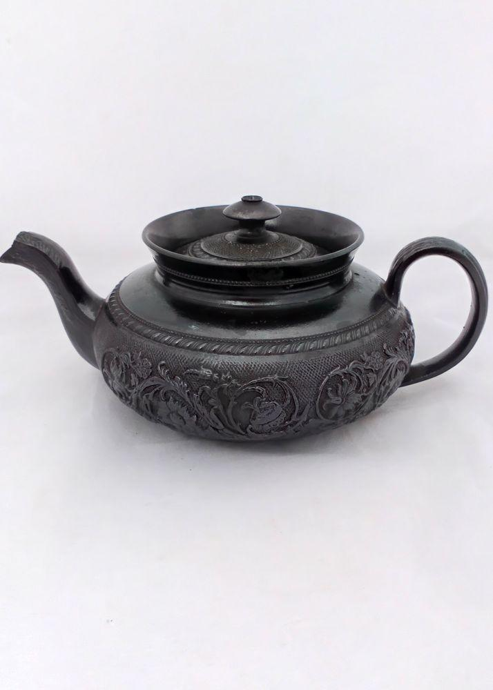 Cyples Black Basalt Low Round Collared Bachelor Teapot circa 1830