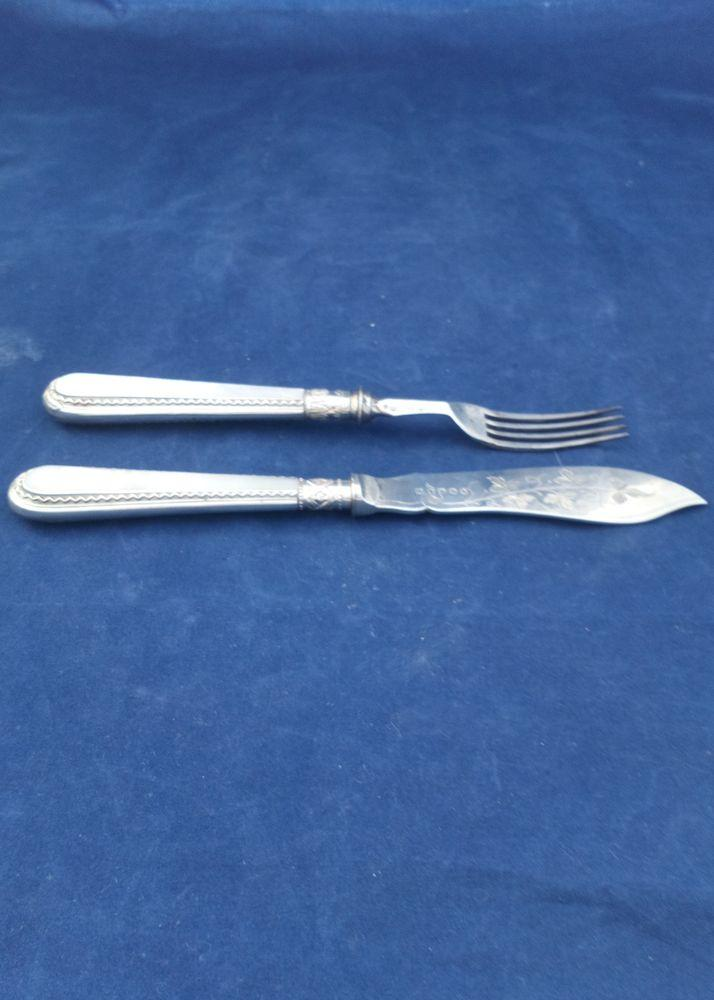 Harrison Bros and Howson Silver Plate Fish Knife Fork Patent MOP Handles