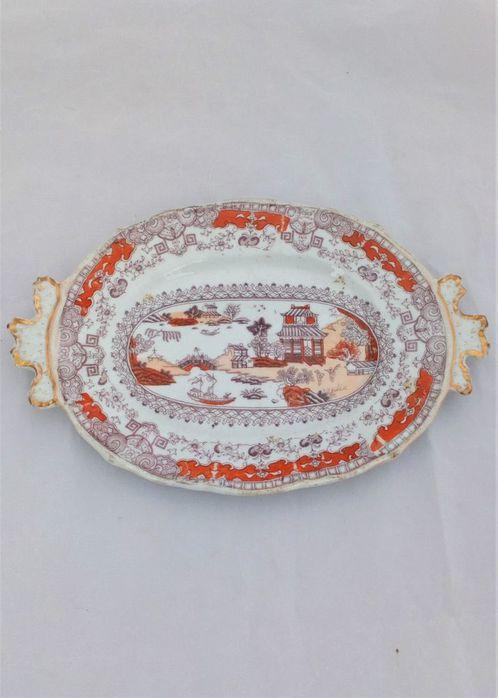 Masons Ironstone China Handled Oval Plate or Stand Coloured Pekin Japan pattern c 1830