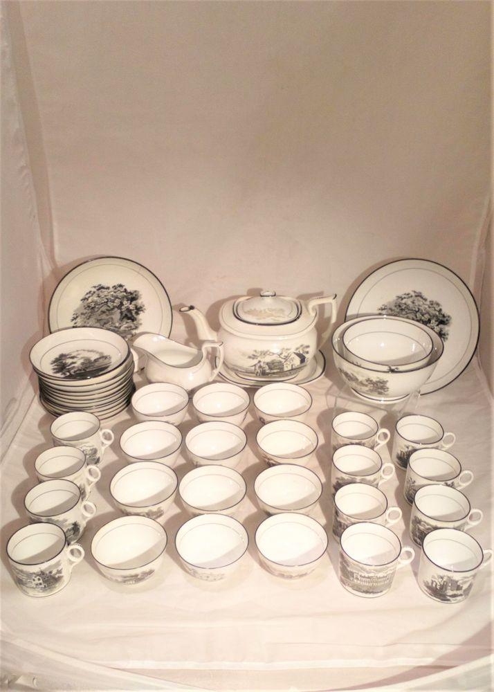 New Hall Porcelain Tea and Coffee Service Bat Printed Rural Landscapes 1063 44 piece Tea Set circa 1815