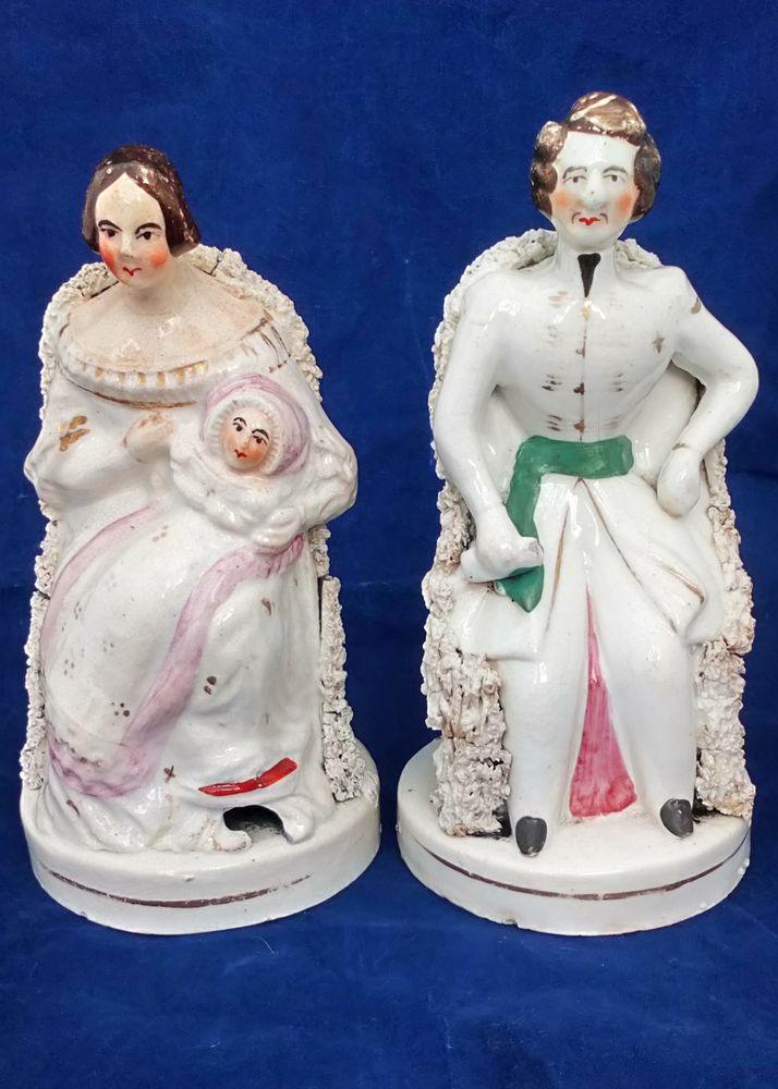 Pair Staffordshire Queen Victoria with Baby and Prince Albert Seated Figurines Antique c 1841