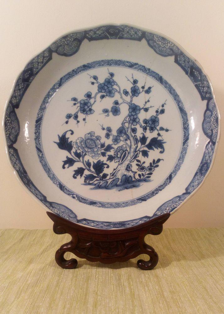 Chinese Porcelain Dish Blue and White Prunus and Peony Qianlong Qing 1780