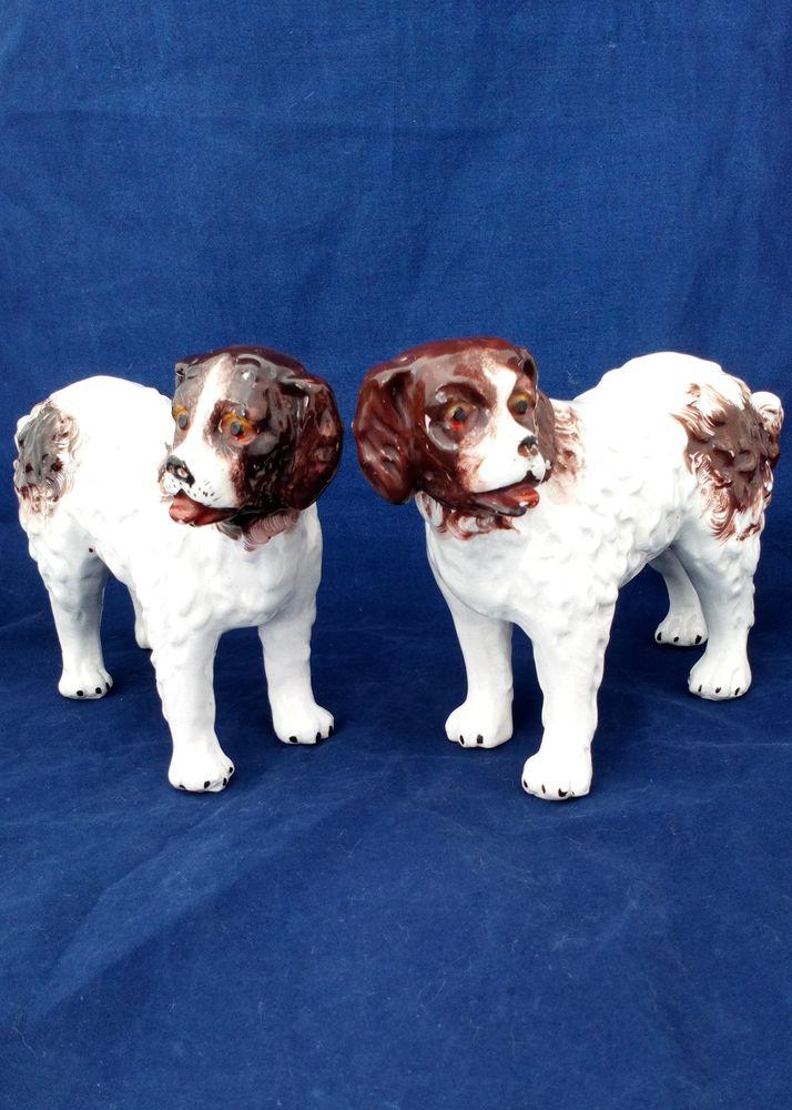 Antique Pair Staffordshire Pottery Dog Figures St Bernard Standing Dogs circa 1890