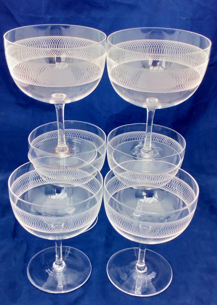 "Set of six antique Edwardian Champagne saucers or Champagne coupes etched ""Concentric Circles"" pattern circa 1910"