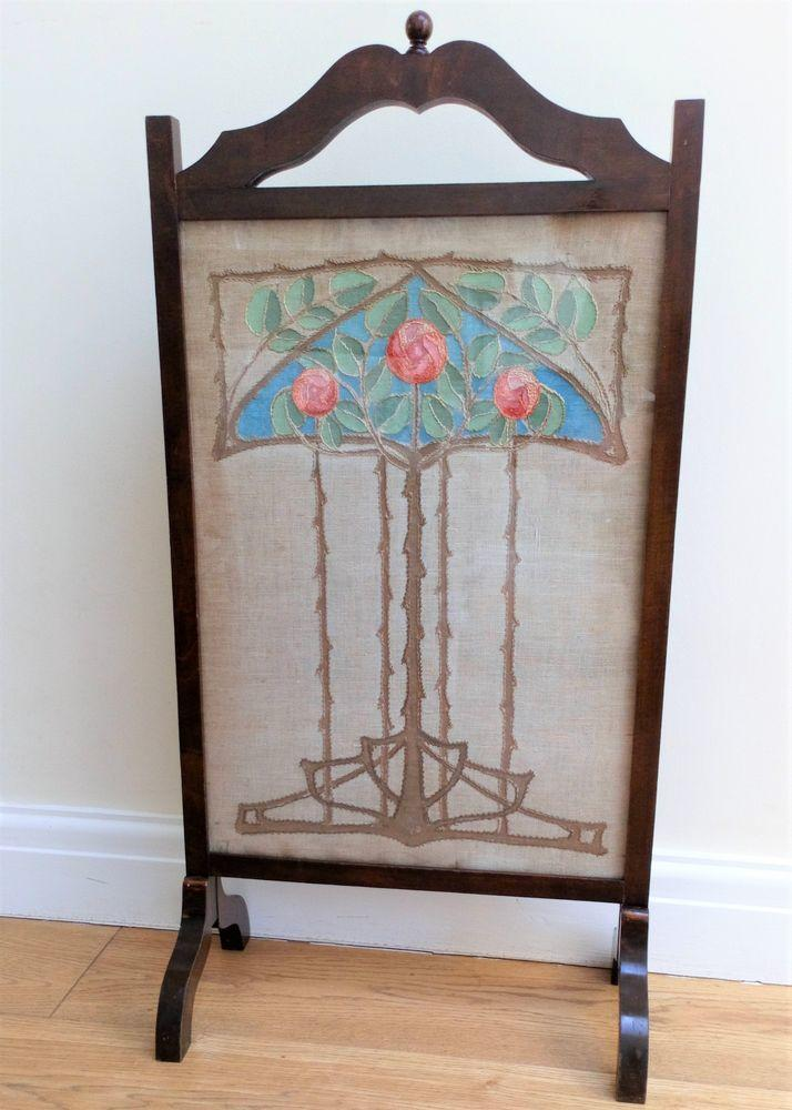 Antique Art Nouveau Glasgow School Embroidered Fire Screen Glasgow Roses Charles Rene Mackintosh Style Stained Dark Wood Frame circa 1900