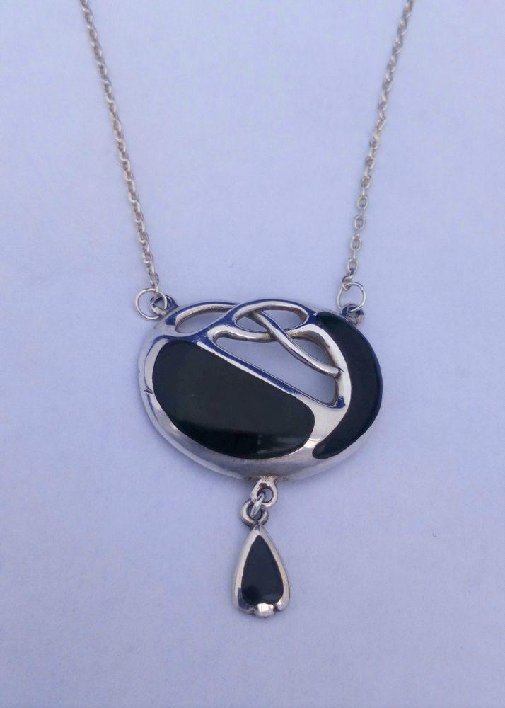 Antique Charles Horner Silver and Black Onyx Necklace Celtic Knot Archibald Knox circa 1910