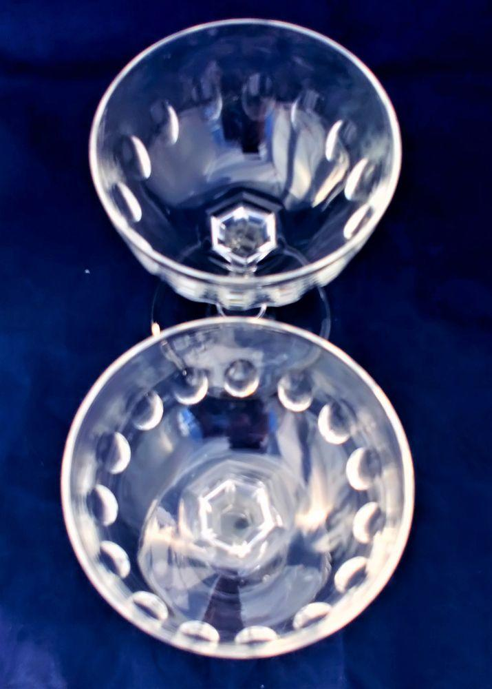 Pair of Antique Victorian Champagne Saucers or Coupes Thumb Cut Bowl and Hexagonal Section Faceted Baluster Stems circa 1900