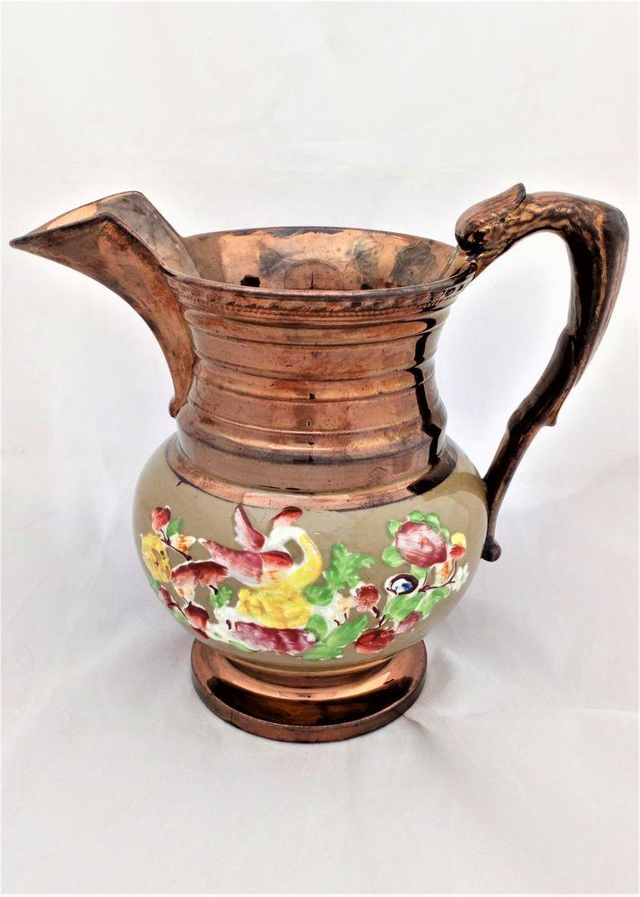Antique Phoenix Handled Copper Lustre Jug Enamelled Sprigged Exotic Bird and flowers circa 1835