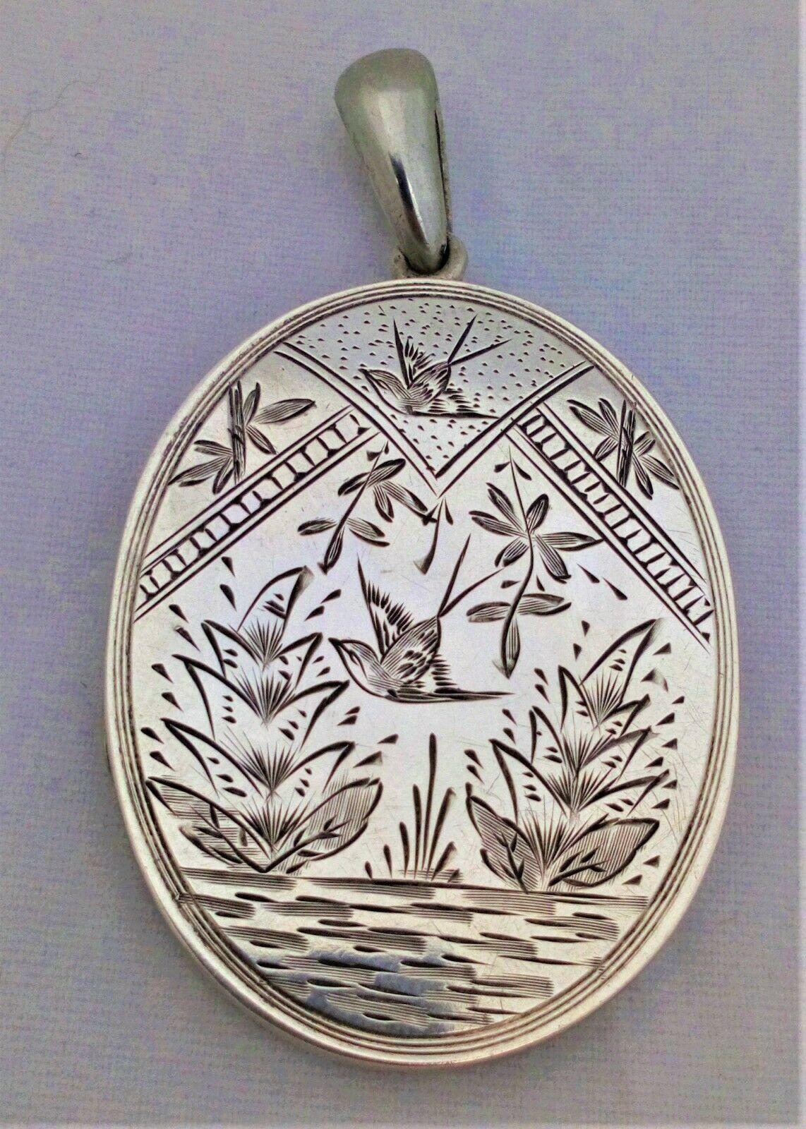 Antique Aesthetic Movement Large Silver Locket Engraved Japonesque Pattern circa 1870