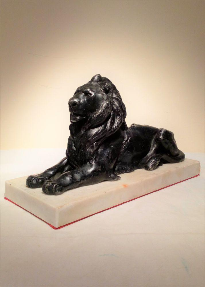 Antique Victorian black patinated spelter Landseer Lion figure on a  felted alabaster base circa 1880