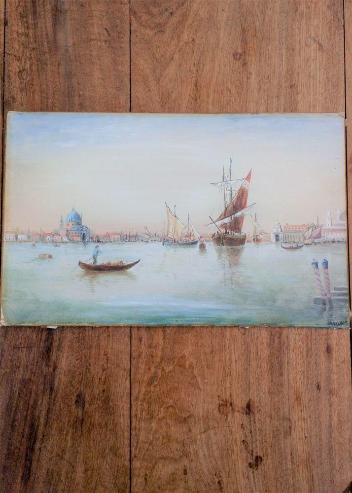 Antique oil painting of a gondola and sailing barges on the Grand Canal in Venice Italy Signed M Aiken Re-Framed Gilt Mounted Early 20th C