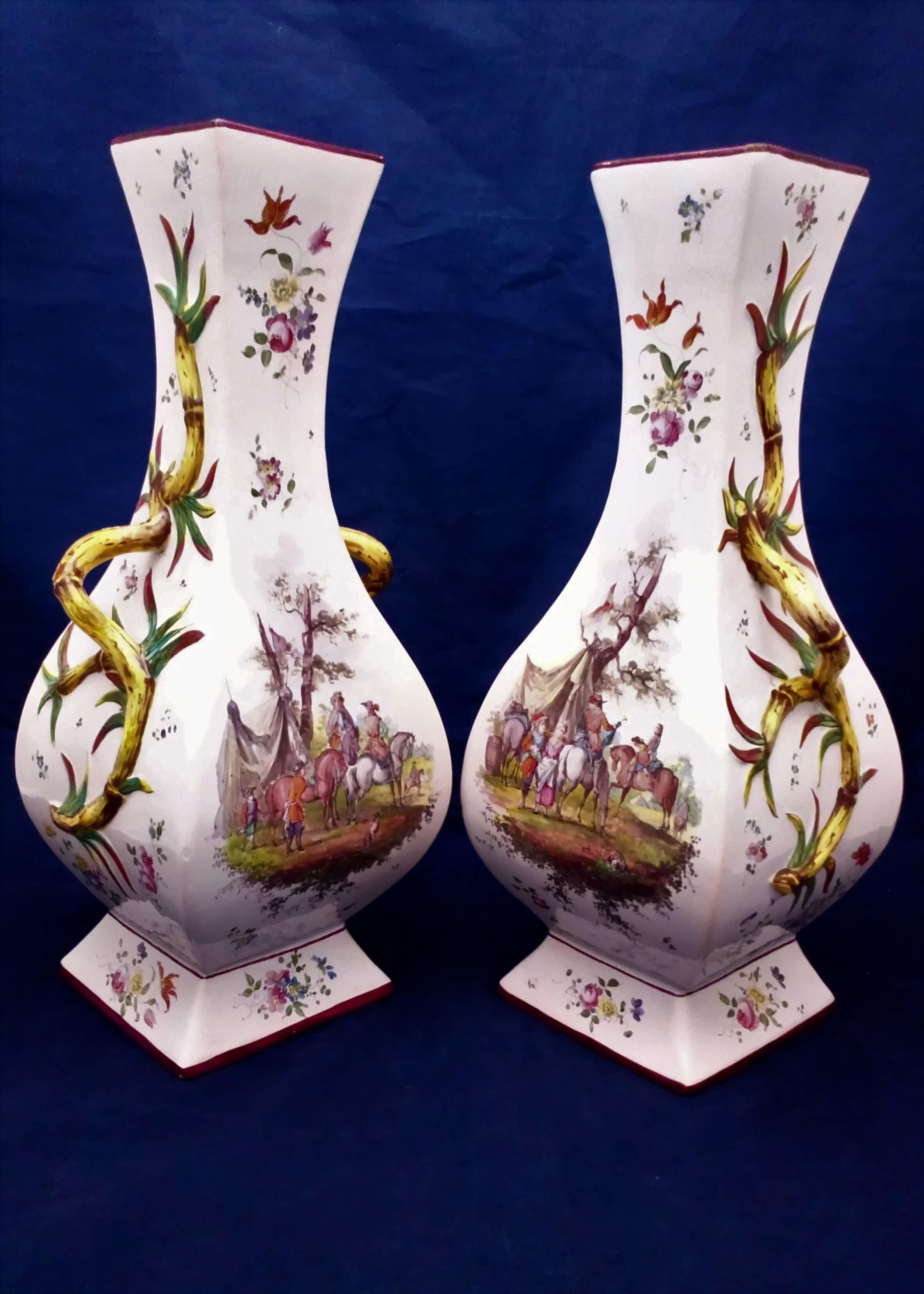 A vintage pair of large square baluster shaped French faience Vases in the 18th century Marseilles style of Gaspard Robert or la Veuve Perrin mid 20th century
