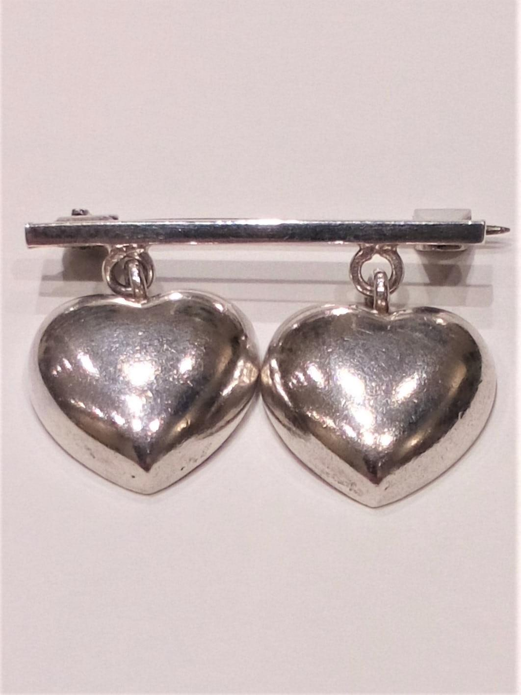 Vintage Danish 830 Silver Solid Double Heart Dropper Sweetheart Brooch 20th C