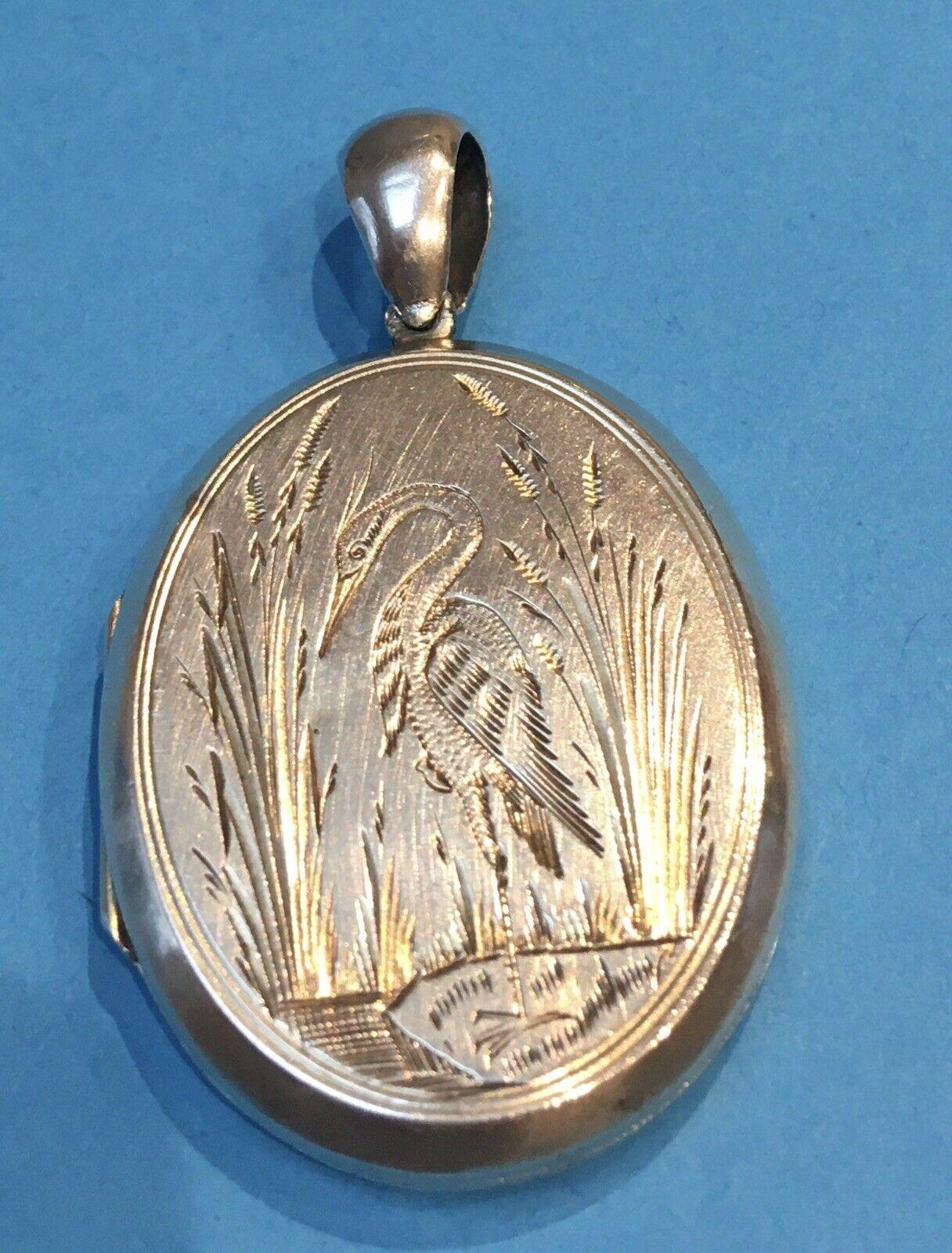 Antique Silver Aesthetic Movement Large Locket Engraved Crane or Heron c 1870