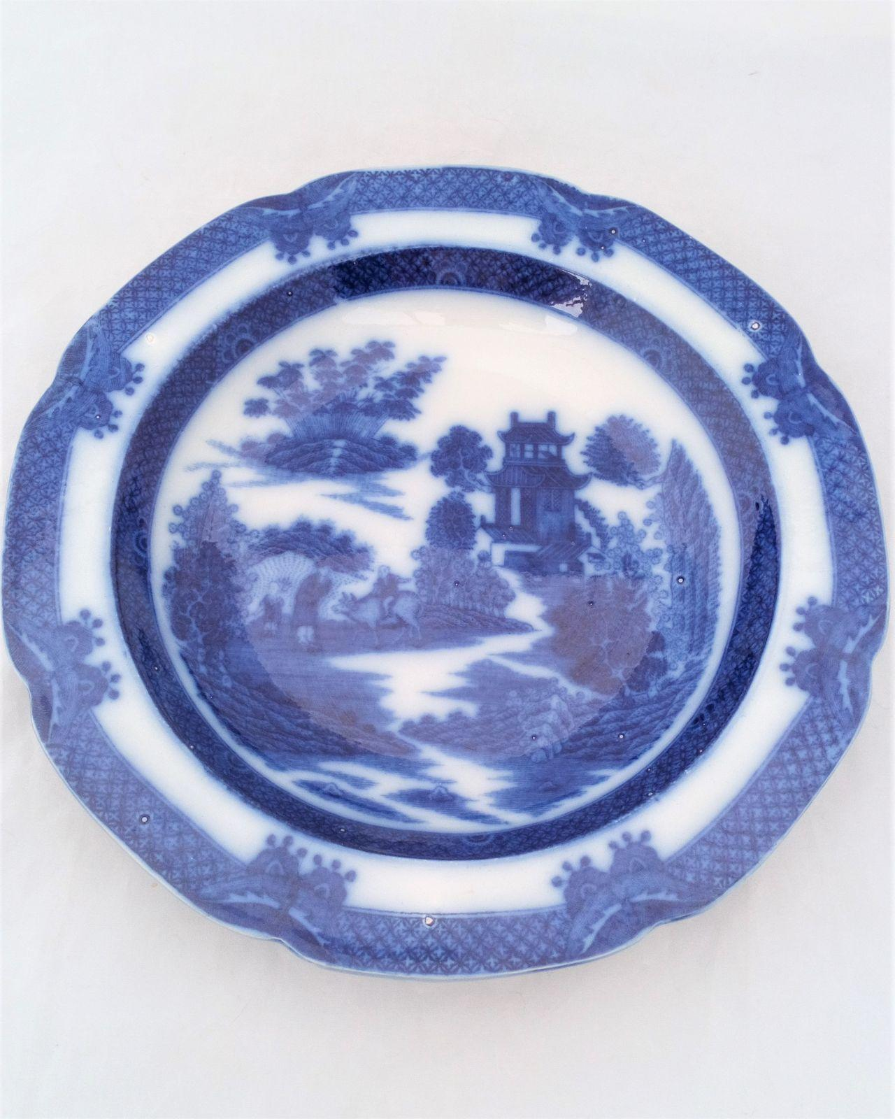 Antique Georgian blue and white Chinoiserie transferware Staffordshire pearlware plate boy on a buffalo pattern circa 1800