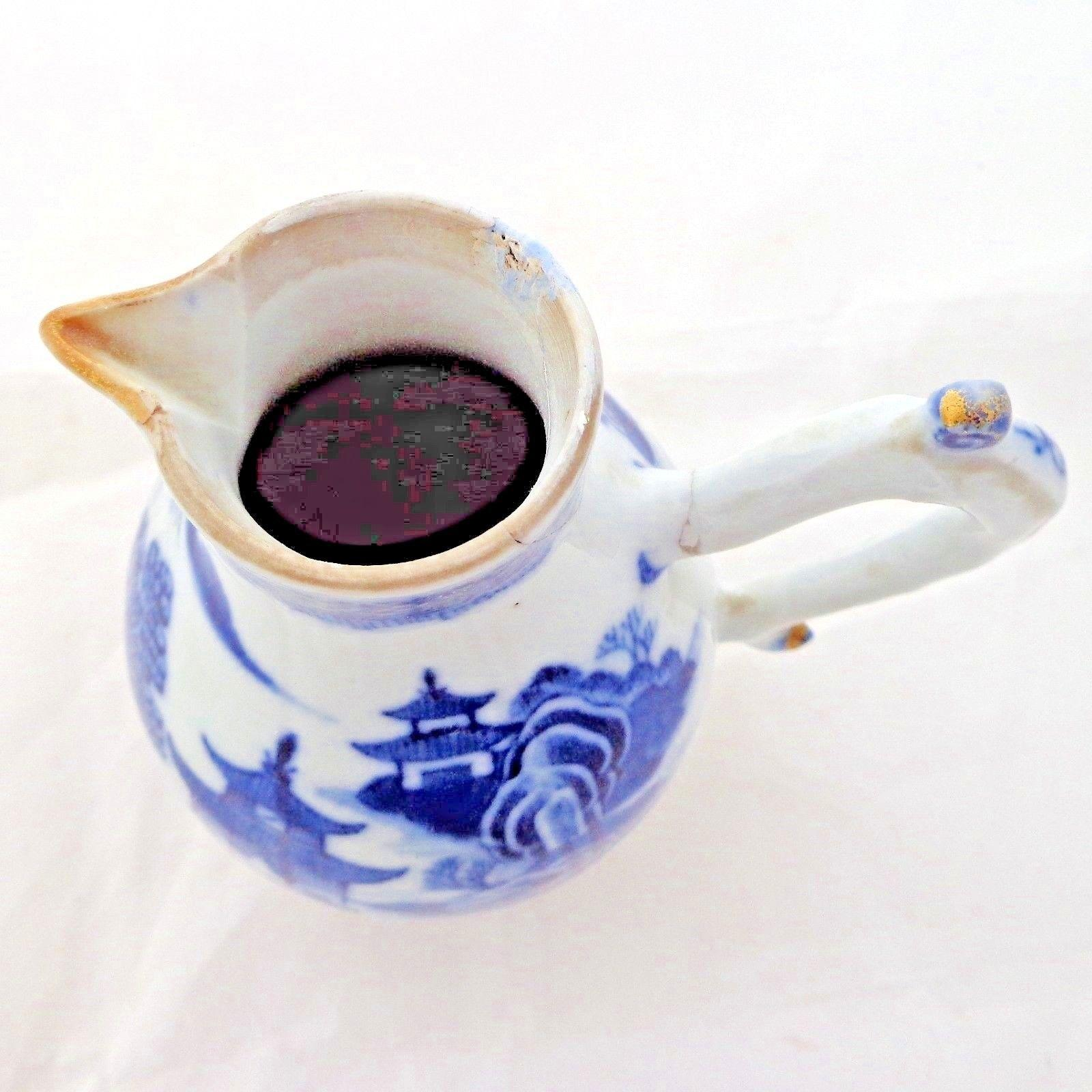 Chinese Porcelain Sparrow Beak Jug HP Blue Qianlong 乾隆 Qing 清代 Antique c 1760