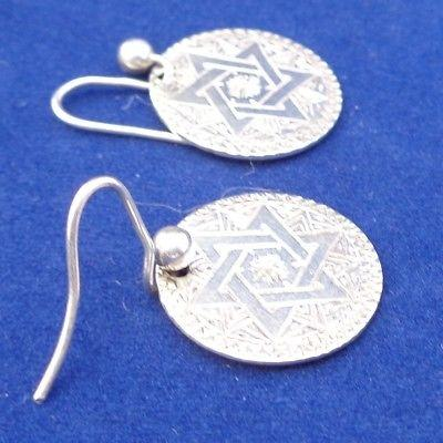 Early Victorian Silver Threepence Earrings Engraved Solomon's Seal 1840s Antique
